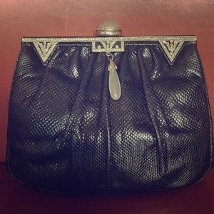 Vintage Judith Leiber reptile & crystal clutch